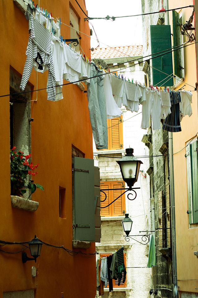 Wäsche und Laterne